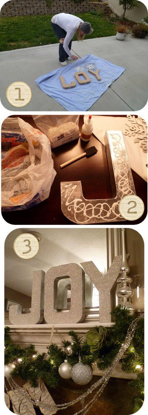 DIY Glitter Joy Letters