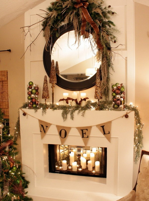 Red Cherry Wreath with Evergreen Garland Draped Across the Mantel