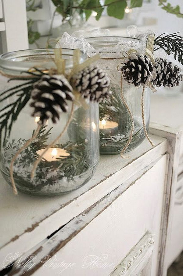 Glass Jar Candle Holders with Fake Snow, Greenery and Pinecones