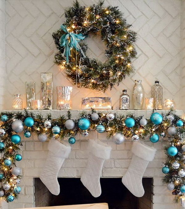 Elegant Christmas Mantel in Turquoise, White And Silver