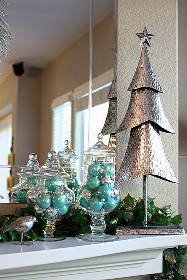 Aqua and Silver Christmas Mantel