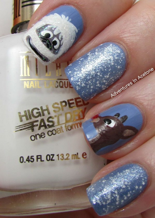 Cute White and Blue Rudolf Nail Art Design