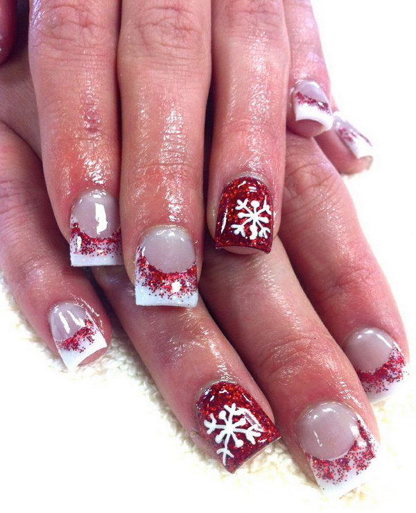 Red Snowflake Acrylic Nail Art.