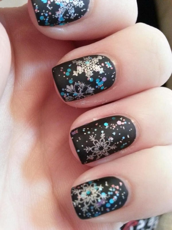 Glitter Snowflake on Black Nails