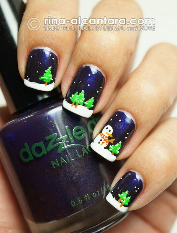 20 pretty christmas nail art ideas designs 2017 christmas trees and snowman nails prinsesfo Images