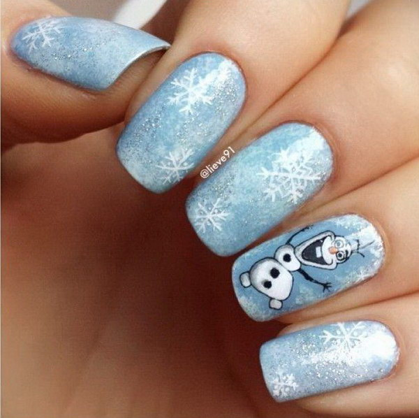 Cute White and Blue Snowman and Snowflakes Nail Art
