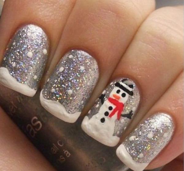 Snowman Inspired Silver Christmas Nail Art