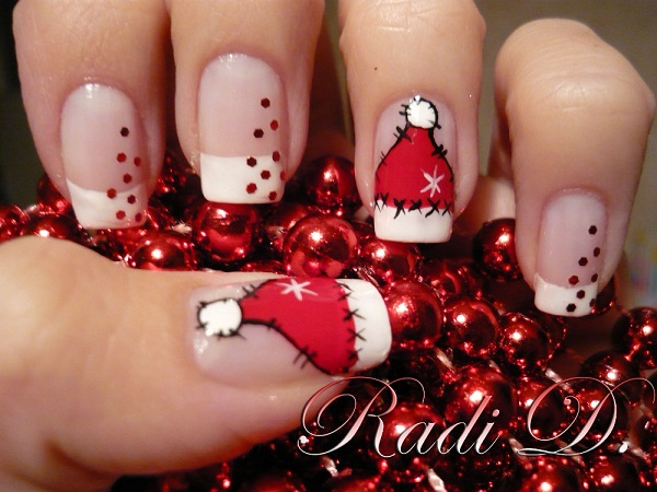 Cute Santa Hat Nail Art - 20 Pretty Christmas Nail Art Ideas & Designs 2017