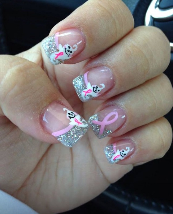 Cute Pink Ribbon with Silver Tips Christmas Nail Art