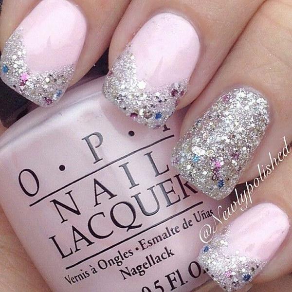 Baby Pink Glitter Nail Art