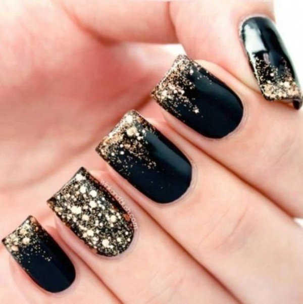 Black and Gold Festive Nails