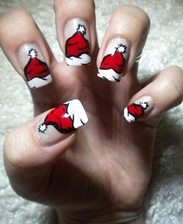 Cute Santa Hat Nail Art Design