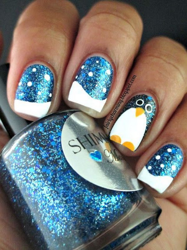 Sparkle Snow and Penguin Nail Art