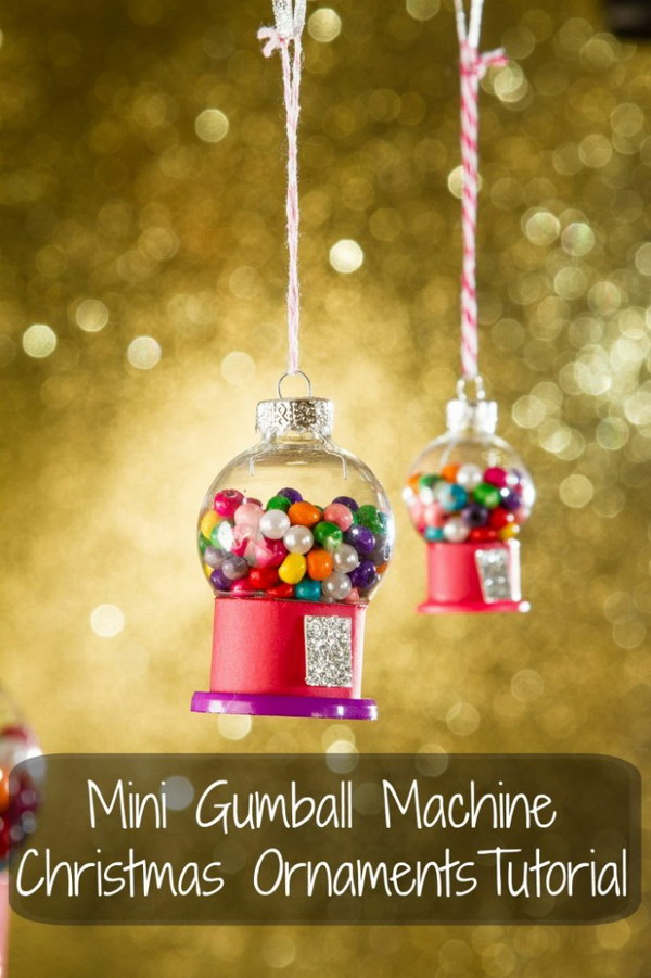 Mini Gumball Machine Christmas Ornament.