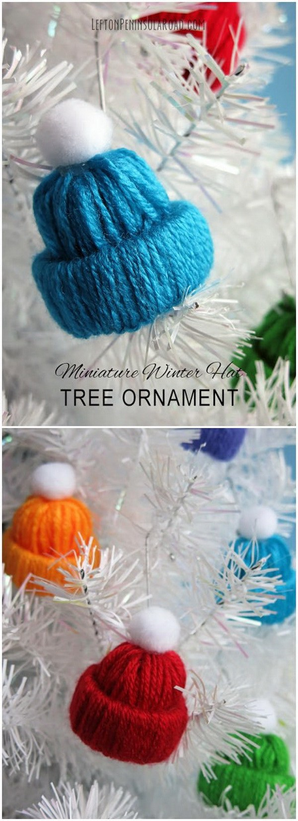 IY Cute Yarn Hat Christmas Ornaments.