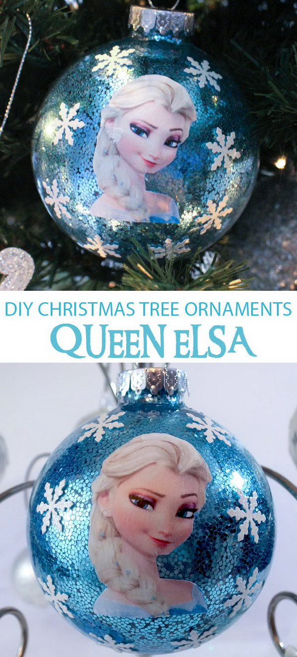 DIY Frozen Christmas Ornaments.