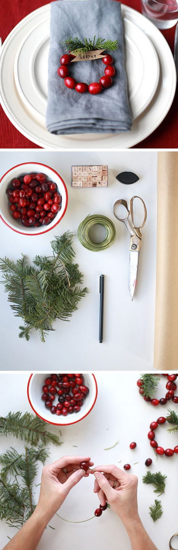 DIY Mini Cranberry Wreath Place Cards.