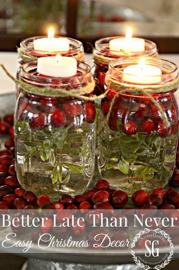 holiday mason jar candles - Easy Christmas Table Decorations Ideas