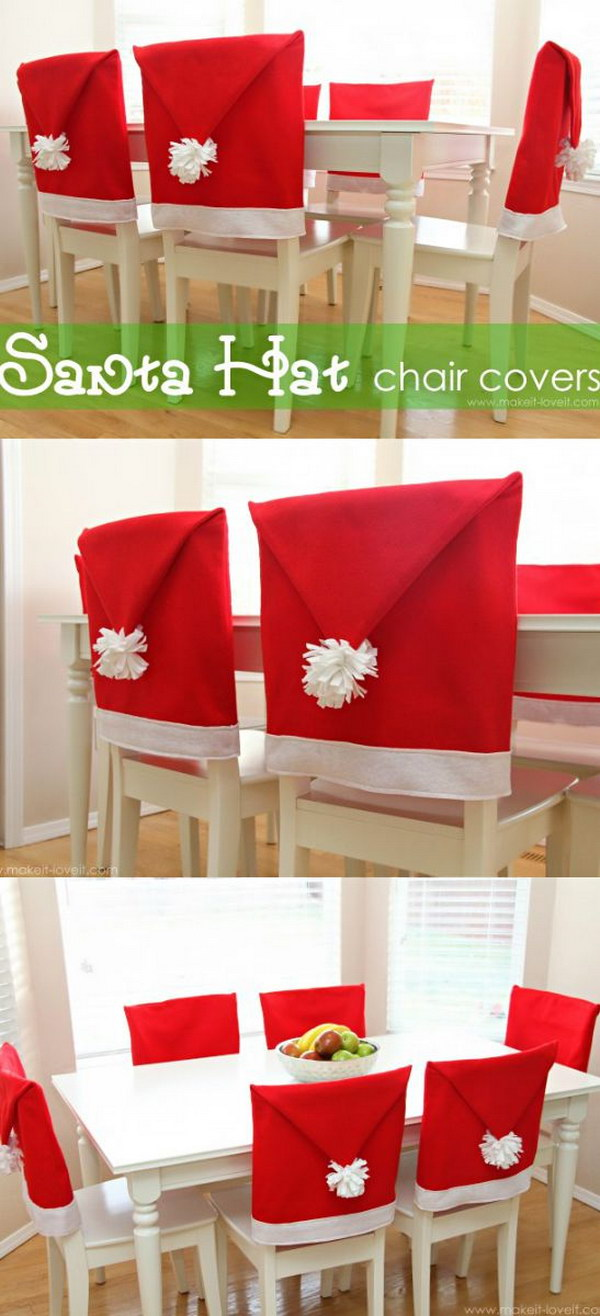 DIY Santa Hat Chair Covers & Festive Christmas Table Decoration Ideas and Tutorials 2017