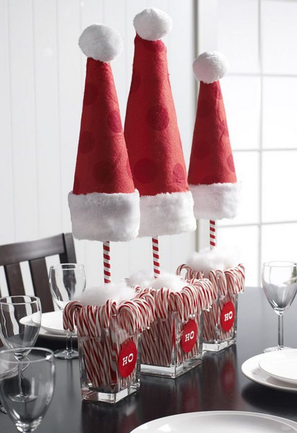 Santa Hat Centerpiece. Take Santa to your dining table with this Christmas centerpiece idea. & Festive Christmas Table Decoration Ideas and Tutorials 2017