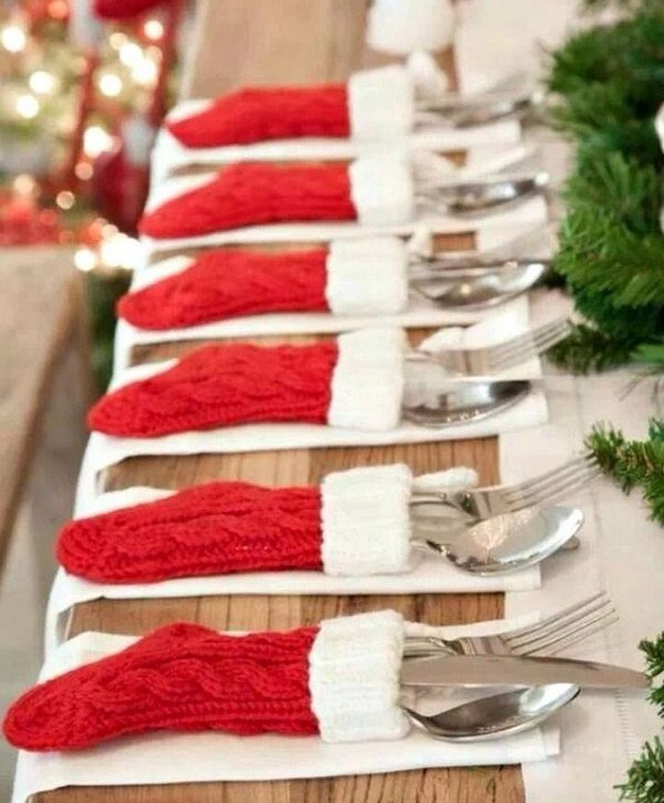 christmas table dressing ideas. Mini Christmas Stocking Silverware Holders Table Dressing Ideas E