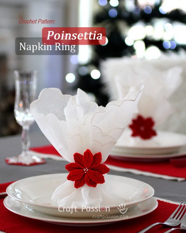 Crochet Poinsettia Napkin Ring Part 44