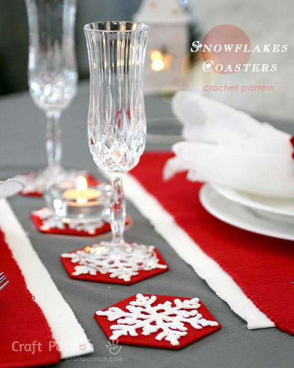 Crochet Snowflakes Coasters.