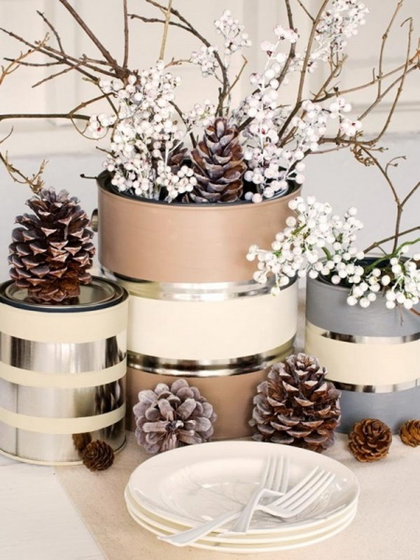 rustic table decoration with pine cones