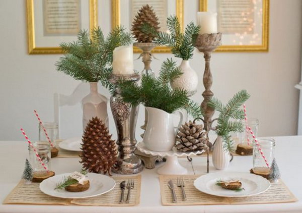 Rustic Christmas Table Decorations & Festive Christmas Table Decoration Ideas and Tutorials 2017