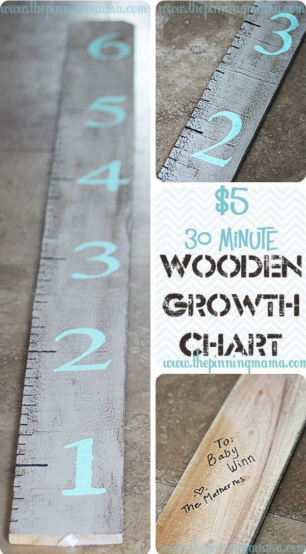 Easy and Inexpensive Wooden Growth Chart