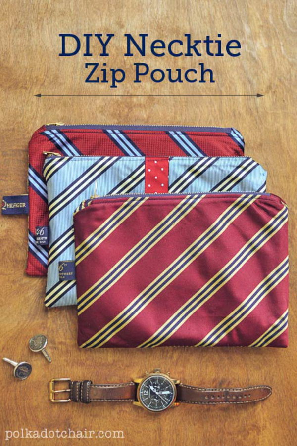 DIY Necktie Zip Pouch Pattern and Tutorial | the Polka Dot Chair #giftsformen #giftsforhim #giftsforboys #diygiftsformen #diygiftsforhim #diygiftsforboys #boyfriendgifts #husbandgifts #birthdaygiftsforhim #diybirthdaygiftsforhim