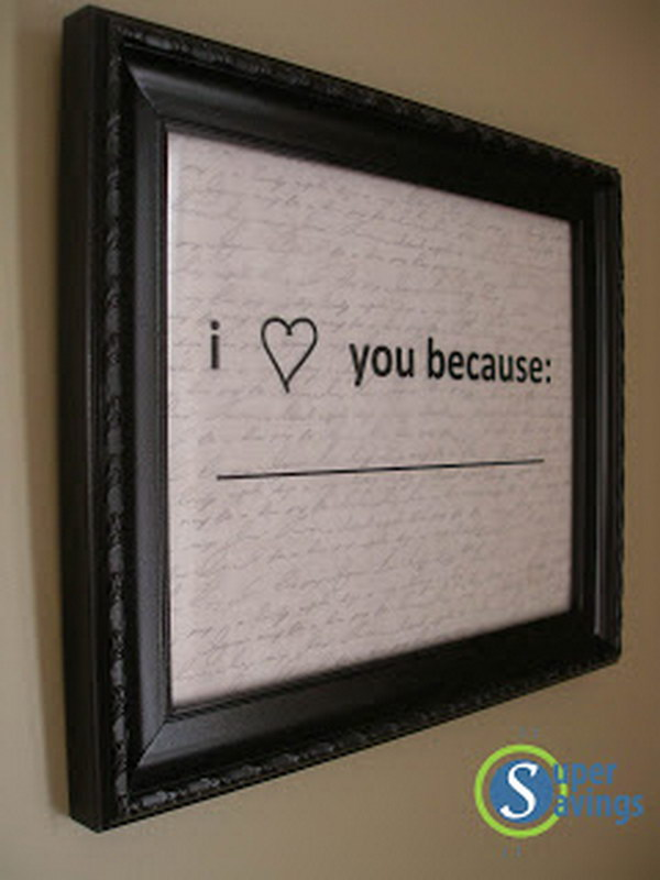 25 diy gifts for him with lots of tutorials 2017 i love you because picture frame solutioingenieria Gallery