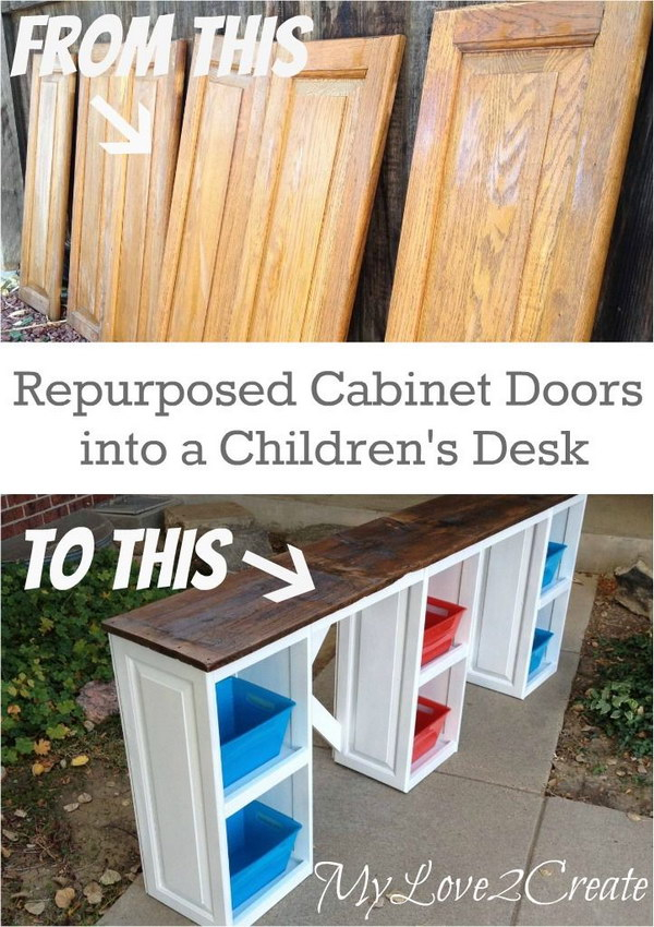 Turn Old Cabinet Doors into a Desk