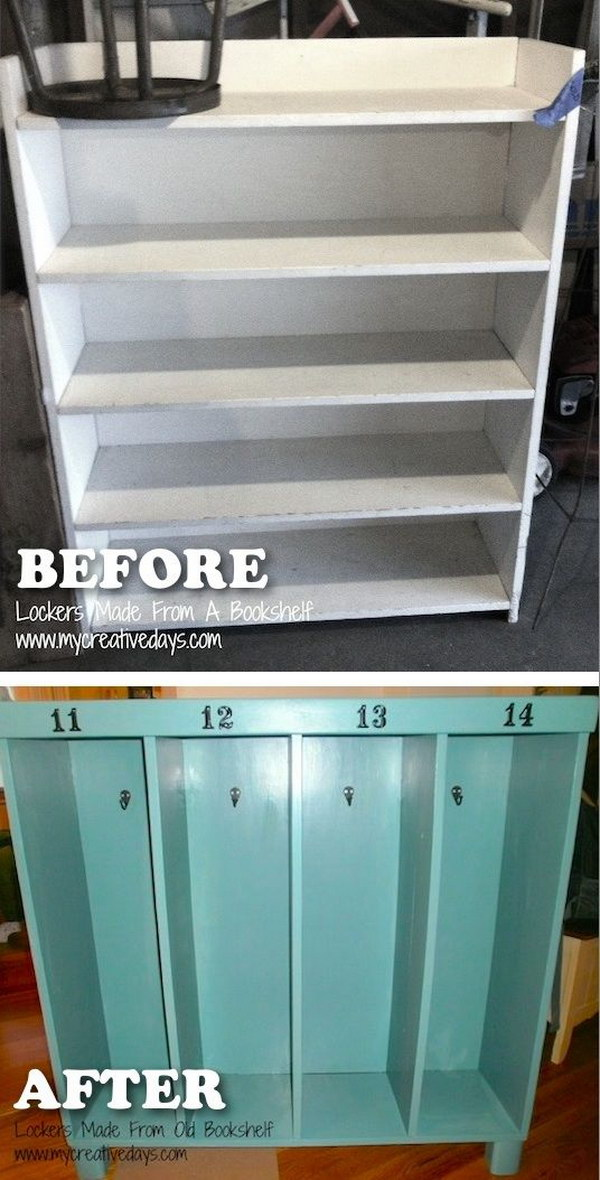 Turn an Old Bookshelf into a Locker for Kids' Coats and Backpacks