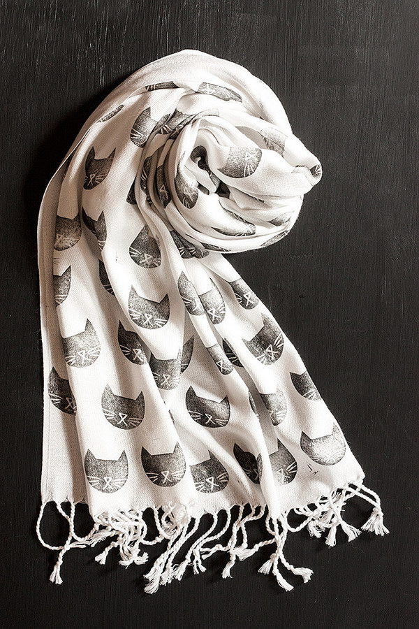 Cat Stamped Scarf.