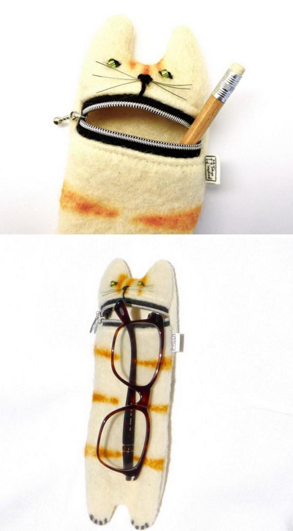Cat Pencil or Eyeglass Case.