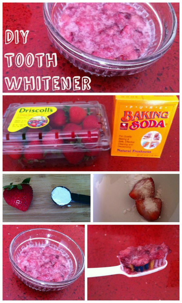 Strawberry, Salt and Baking Soda Tooth Scrub.