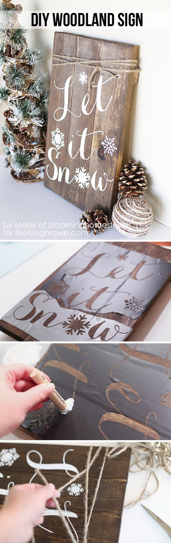Rustic christmas decorations diy - Let It Snow Sign