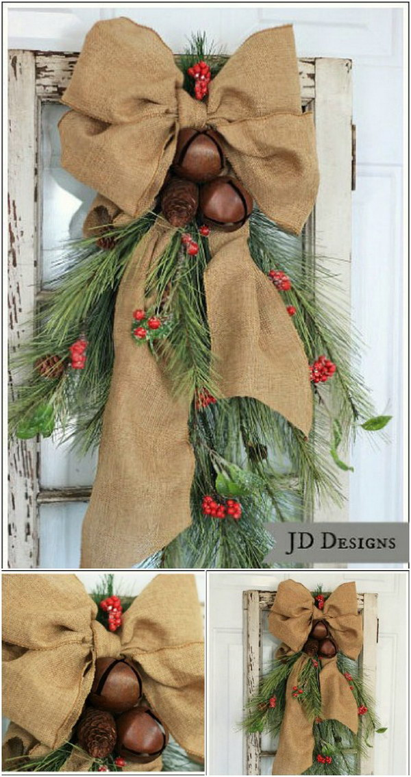 front door swag - Rustic Christmas Porch Decorating Ideas