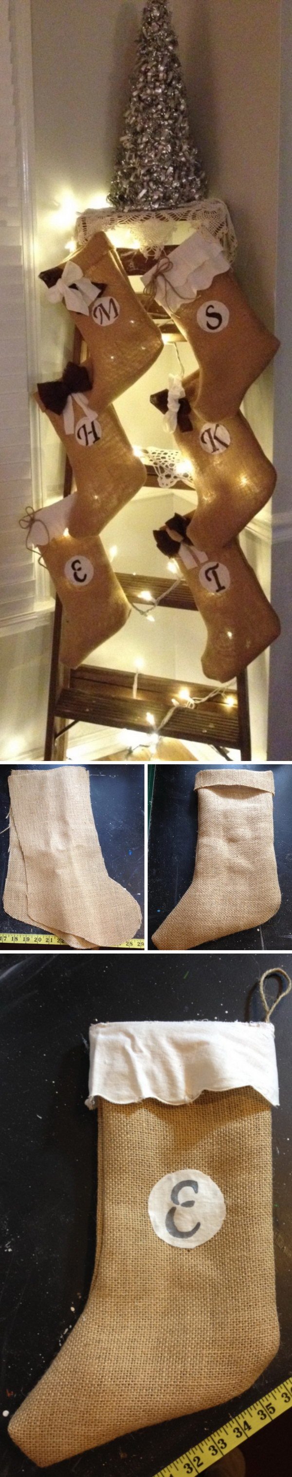 No Sew Burlap Christmas Stockings for Ladder Decoration.