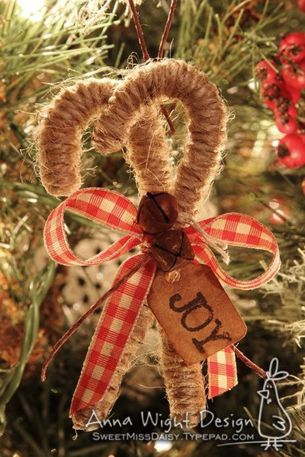 twine candy cane ornaments on the tree - Rustic Christmas Decorations