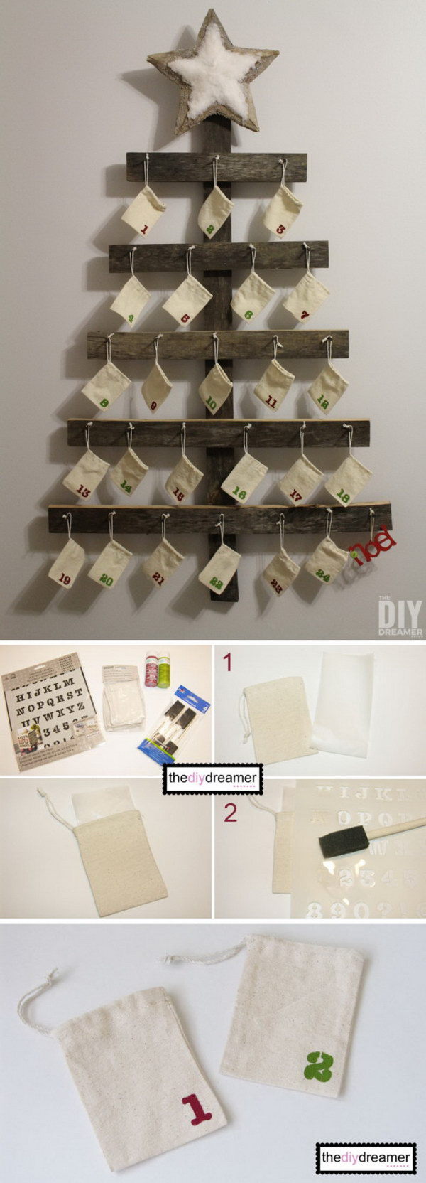 25 diy rustic christmas decoration ideas tutorials 2017 for Diy christmas advent calendar ideas
