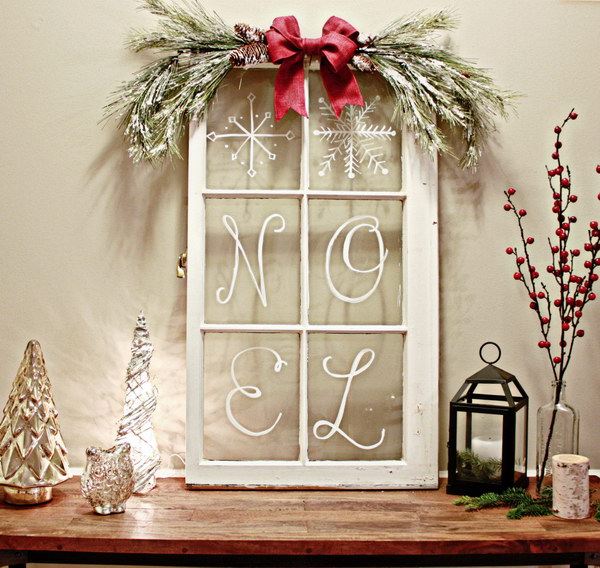 vintage windowpane decor - Rustic Christmas Decor