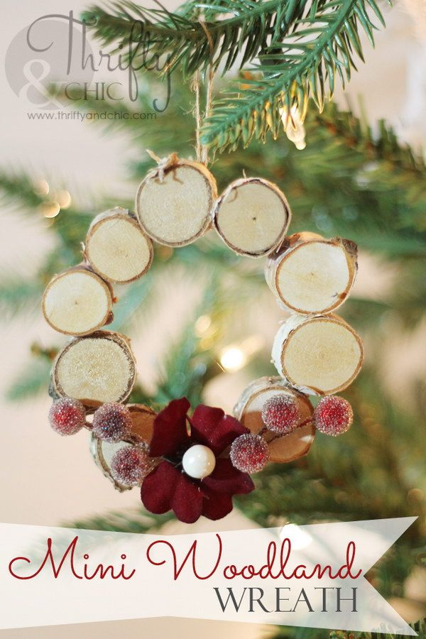 mini woodland wreath ornament - Rustic Christmas Ornaments