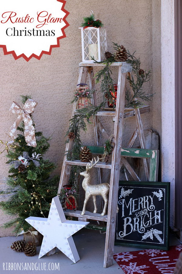 diy rustic glam pine cones - Christmas Tree Ladder Decoration
