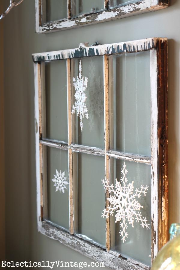 vintage window with snowflakes - Rustic Christmas Decorations