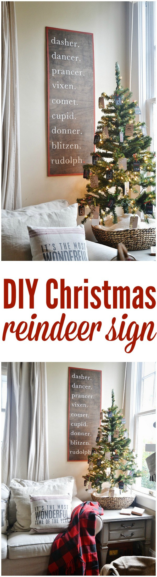 DIY Christmas Reindeer Sign.