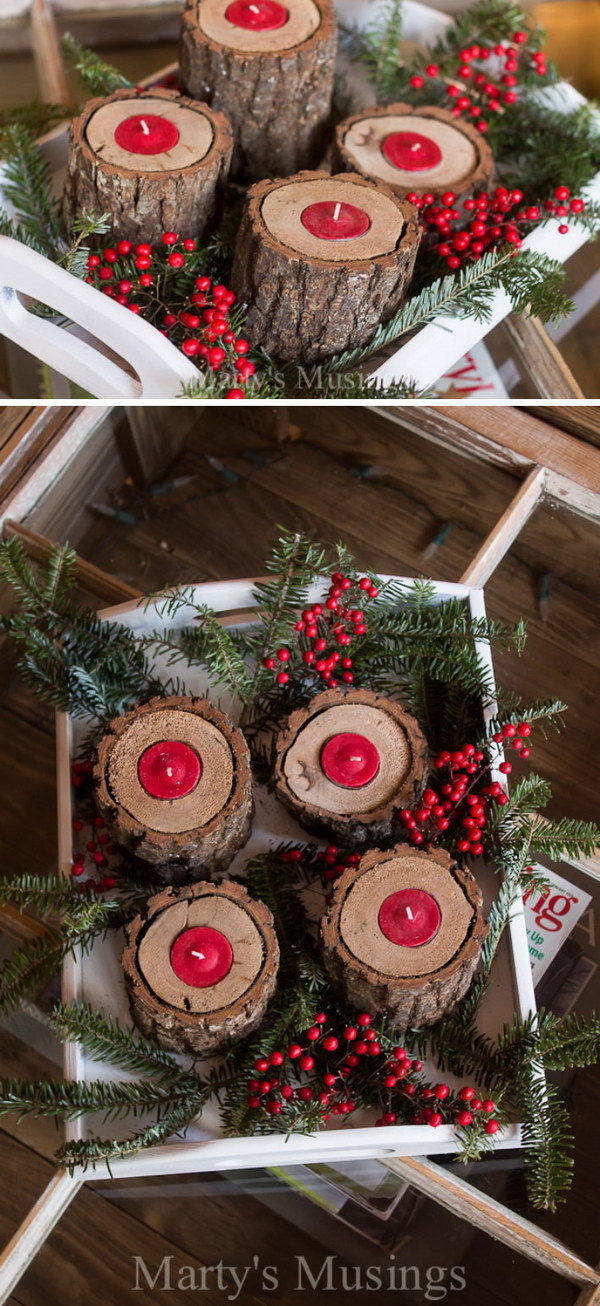 Rustic Wood Candle Holders.