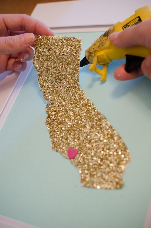 DIY Glitter Home State Wall Art