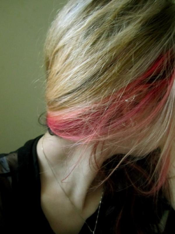Ordinary Blonde Hair with a Little Red Accent.